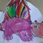 dinosauro colorato e ritagliato